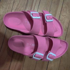 Hot pink double strap foam Birkenstocks size 39